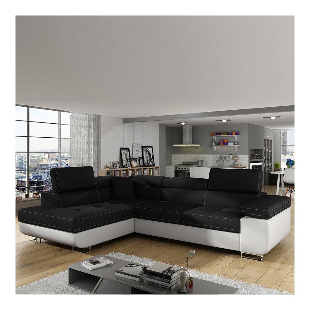 Nouvomeuble Canapé d'angle convertible noir et blanc WILLIS 4