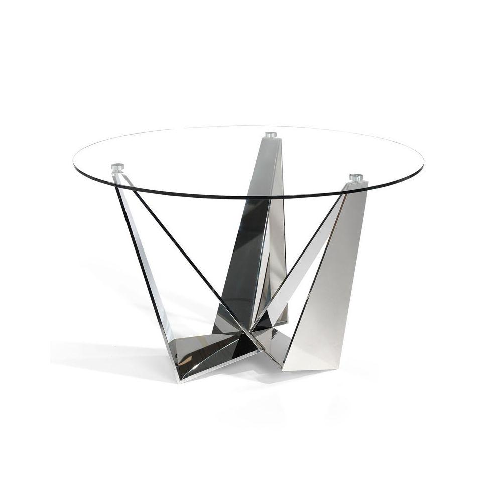 Tousmesmeubles Table de repas ronde Verre/Inox - NOGU