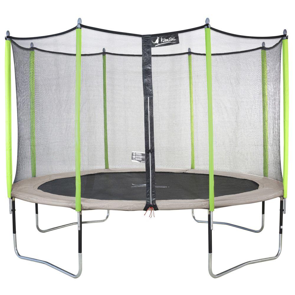 Kangui Kangui - Trampoline de jardin 365 cm + filet de sécurité JUMPI Taupe/Vert 360. Trampoline certifié par le CRITT sport &