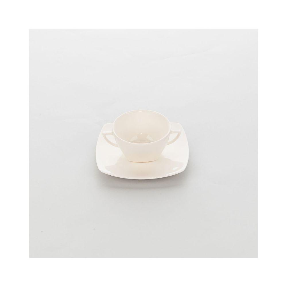 Materiel Chr Pro Bol Porcelaine Ecru avec Anses Liguria 370 ml - Lot de 6 - Stalgast - 11 cm Porcelaine