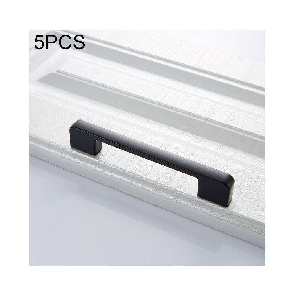 Wewoo Poignée d'armoire 5 PCS 6613-128 de porte simple tiroir en alliage de zinc noir