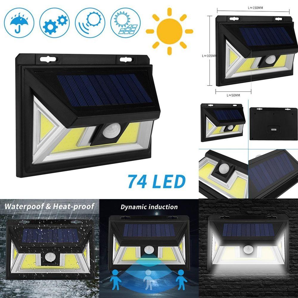 Generic 74 LED de sécurité COB solaire à détecteur de mouvement Applique murale d'extérieur Lampe de jardin