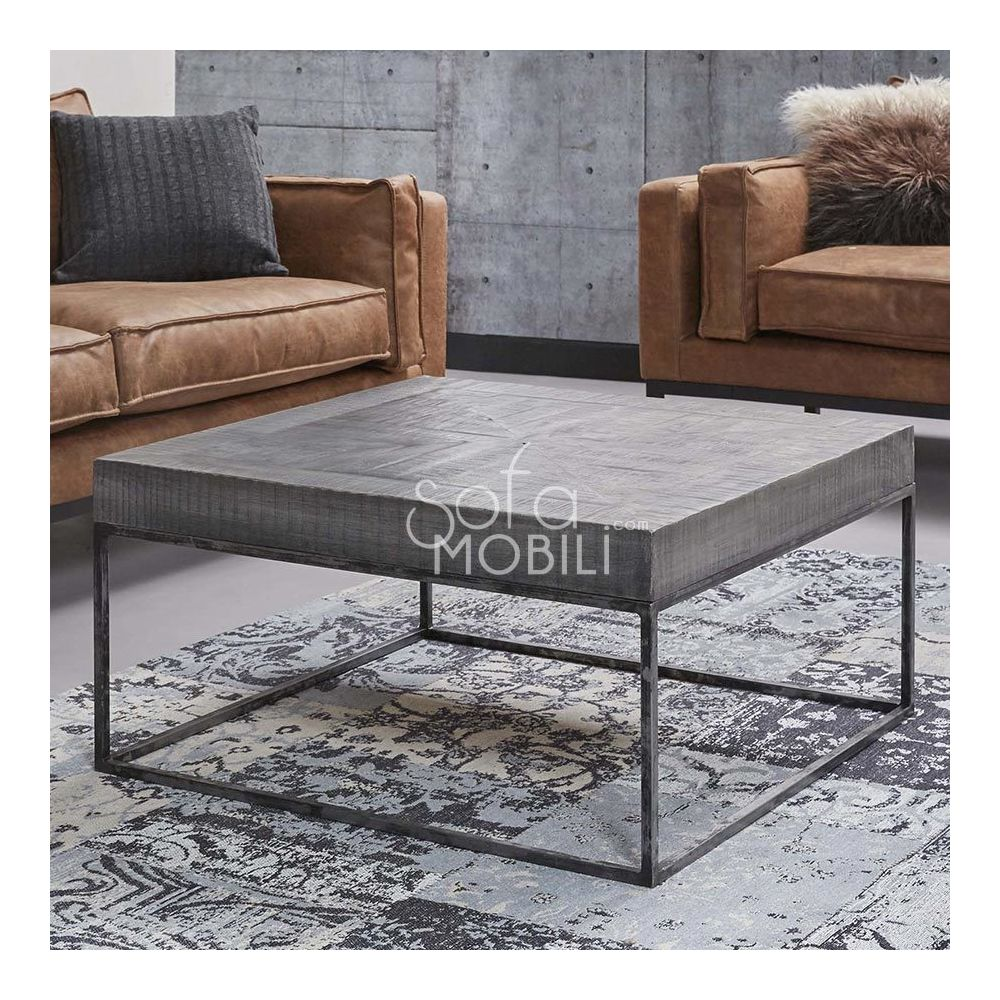 Sofamobili Table basse carrée en bois massif BENITA