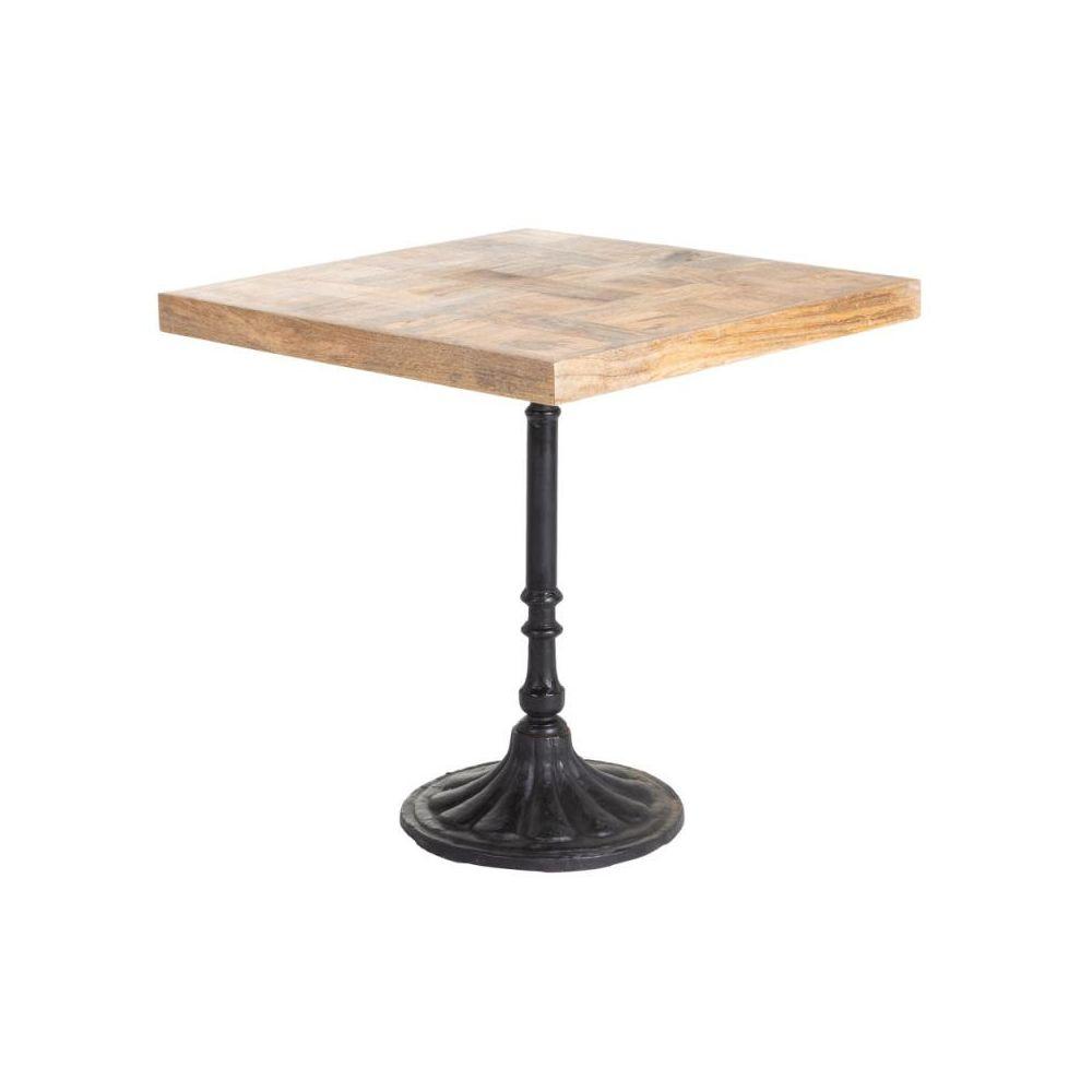 Tousmesmeubles Table de repas carrée Bois/Métal scuplté - SALY