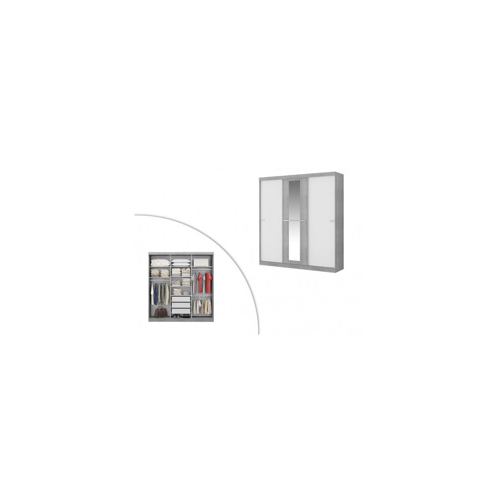 Vente-Unique Armoire DIDDA - 3 portes coulissantes - L205cm - Gris et blanc