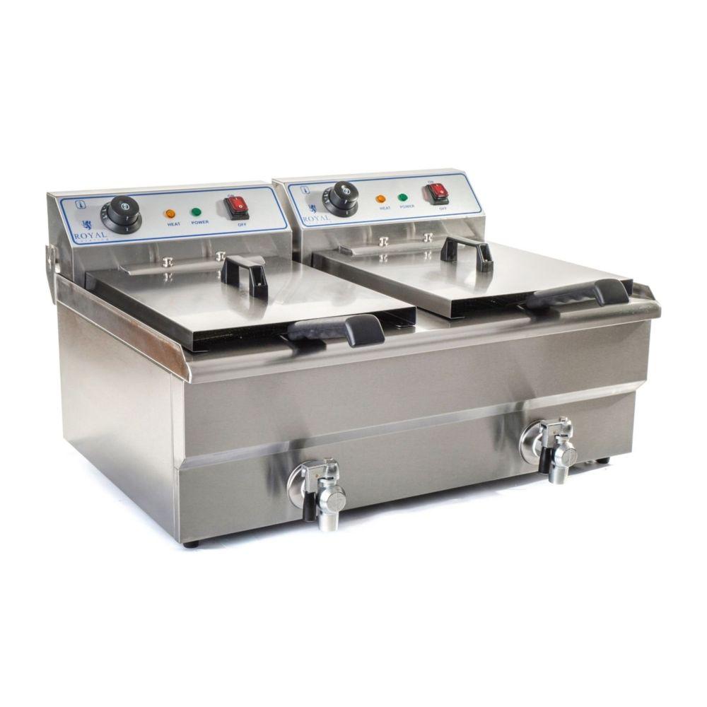 Helloshop26 Friteuse acier inox 2 bacs 16 litres cuve et resistance amovible robinet vidange 380 V professionnelle 3614029