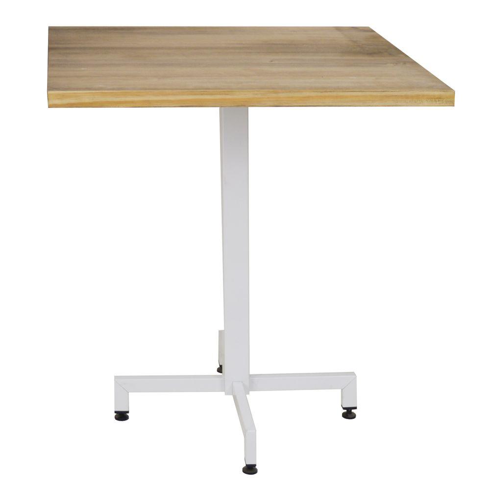 Ds Meubles Table bistrot Icub. Plateau carré - 60x60x75 cm - Metal Blanc