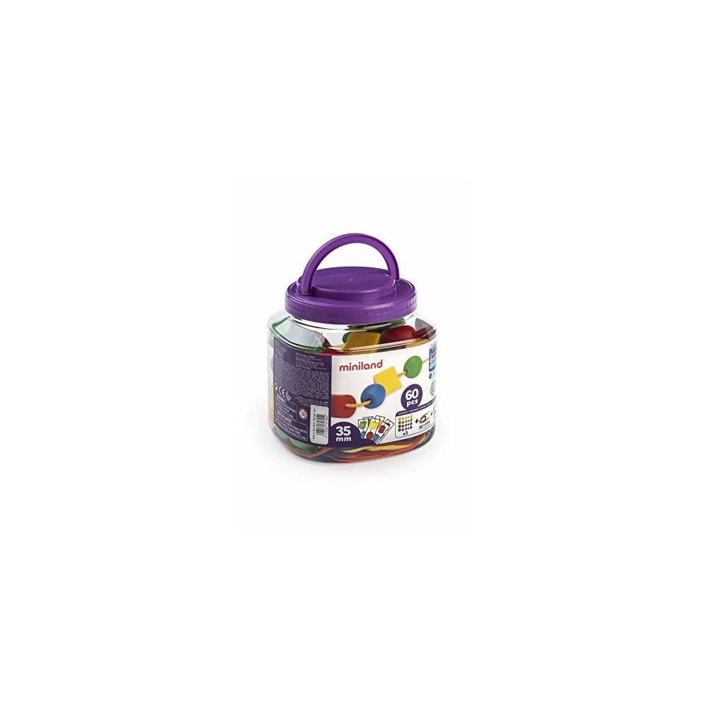 Miniland Miniland Educational - Giant Beads and Laces (40 Pieces and 10 Laces)