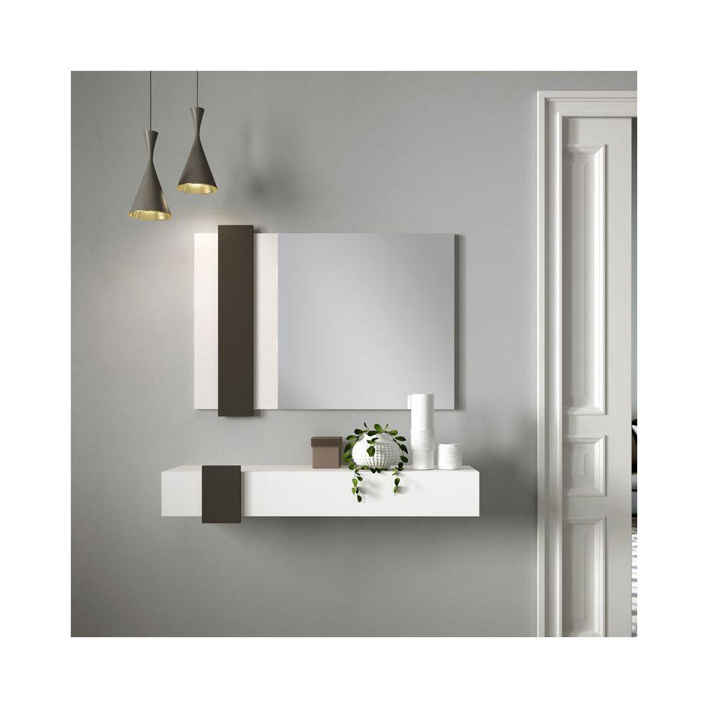 Tousmesmeubles Meuble d'entrée Bois blanc/Laque marron foncé + miroir - NIGHTA