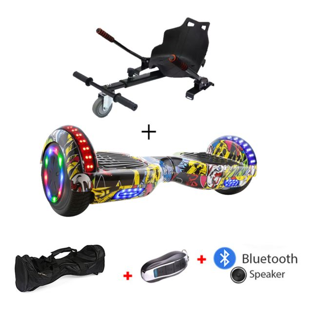 Mac Wheel - 6,5 pouces hip-hop jaune Gyropod Overboard Hoverboard Smart Scooter + Bluetooth + clé à distance + sac + Roue LED + hoverkart Mac Wheel   - Gyropode, Hoverboard