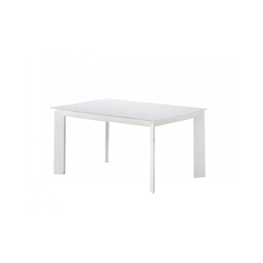 Meubletmoi Table extensible 140/200 cm rectangulaire plateau verre blanc - FUJI