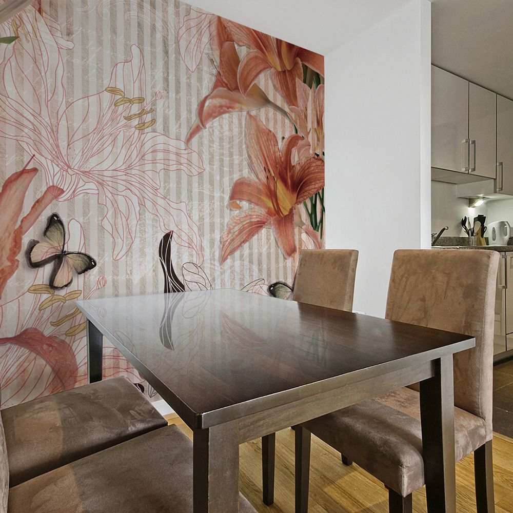 Bimago Papier peint - Fleurs et papillons - Décoration, image, art   Fonds et Dessins   Motifs floraux  