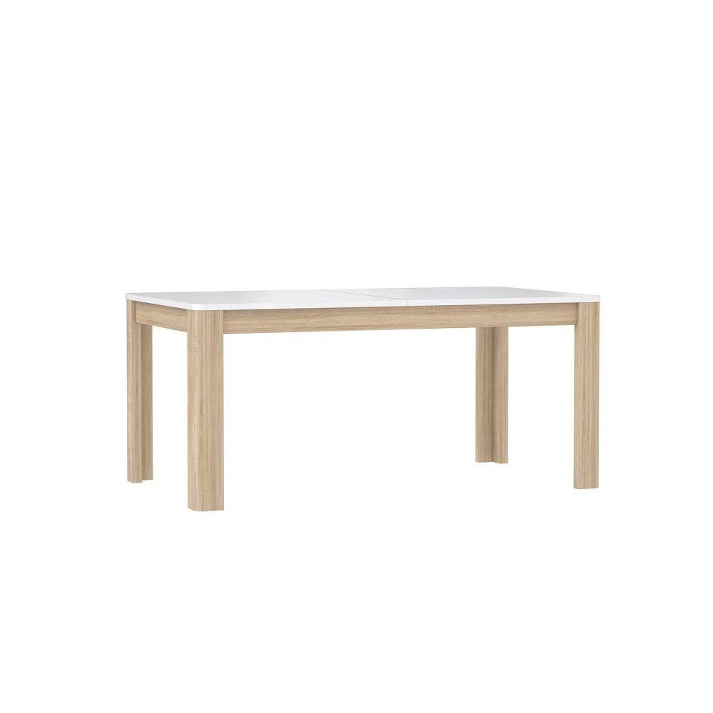 Meubletmoi Table de repas extensible 160 cm, plateau blanc laqué et piétement bois naturel - ALEXIANE