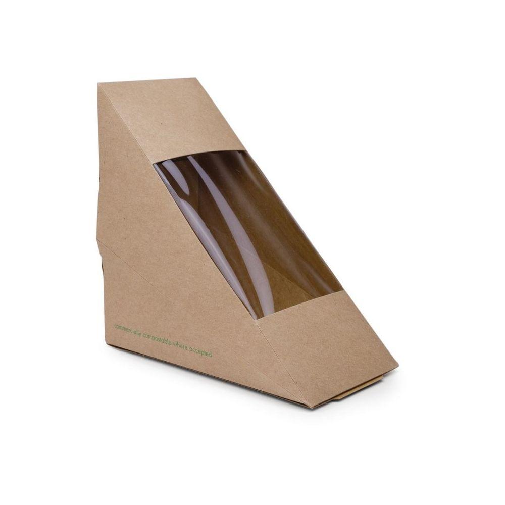 Materiel Chr Pro Boîte Alimentaire Professionnel Sandwichs Triangles Kraft Standards 65 mm - Lot de 500 - Vegware - 0 cm Carton b