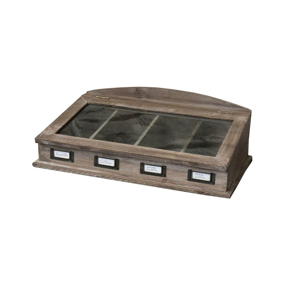 L'Originale Deco Boîte Couvert Cuisine Bois Vitrée 47 cm x 27 cm x 16 cm