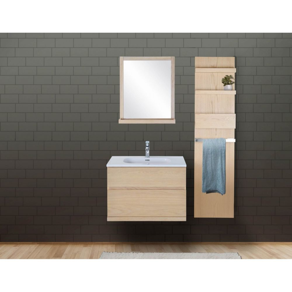 Mob-In Ensemble salle de bain chêne 80 cm meuble + vasque + miroir + module rangement ENIO
