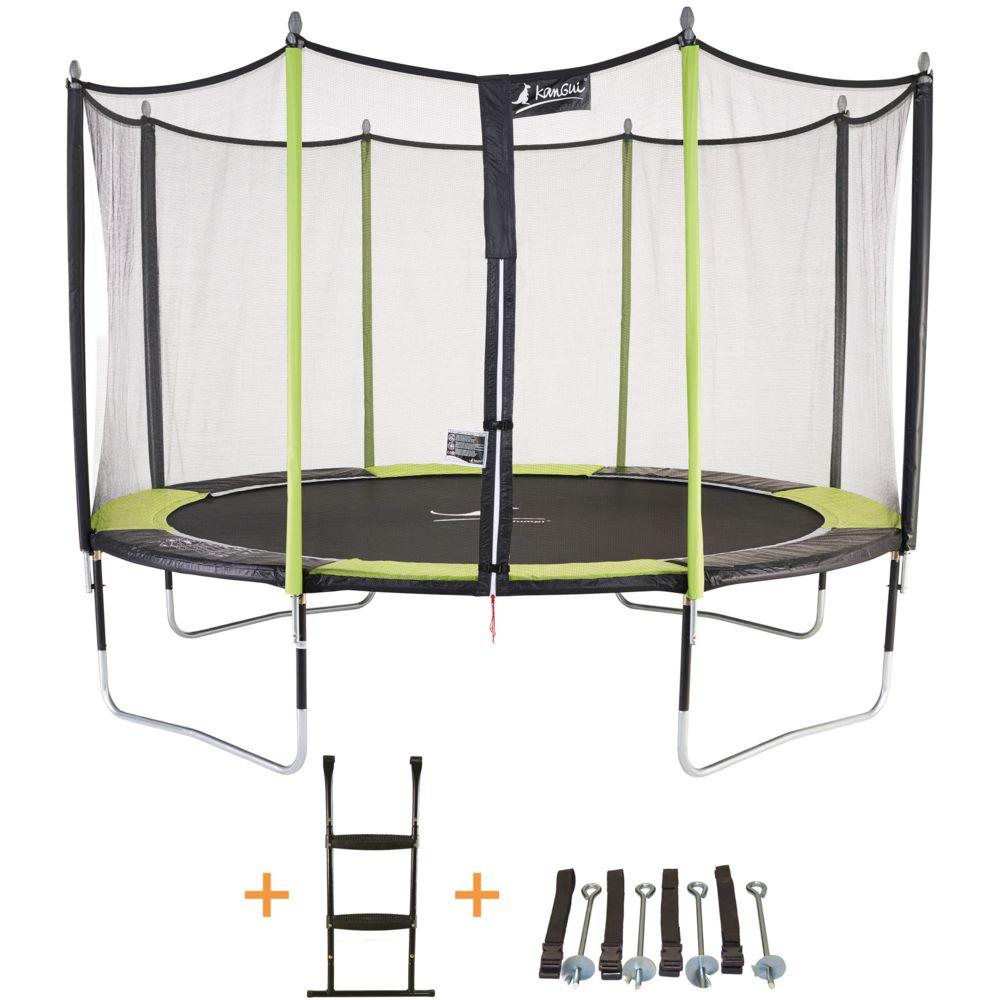 Kangui Kangui - Trampoline de jardin 426 cm + filet de sécurité + échelle + kit d'ancrage JUMPI Vert/Noir 430