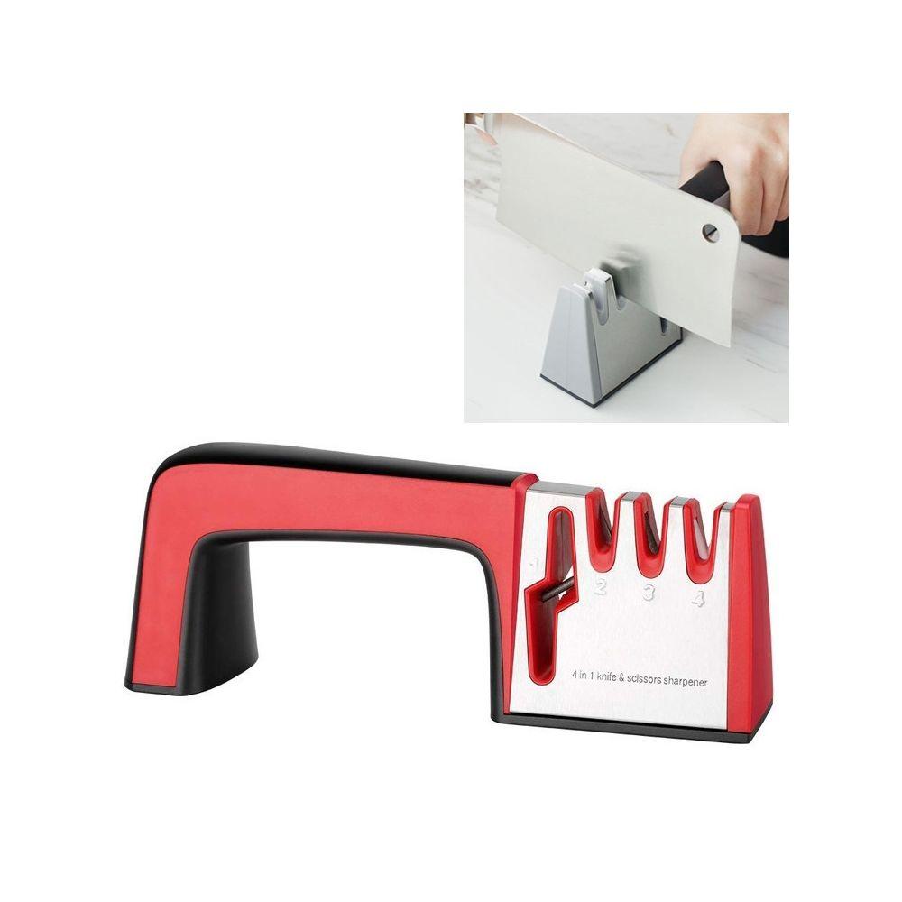 Wewoo Aiguiseur de couteaux en acier inoxydable 4 1 Outil d'affûtage rapide à quatre sections avec poignée antidérapante rouge
