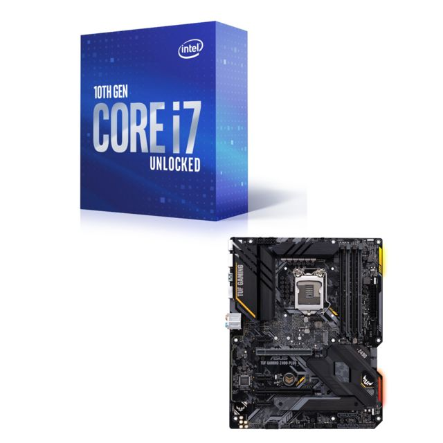 Intel - Core i7-10700K - 3.8/5.1 GHz + INTEL Z490-PLUS TUF GAMING - ATX Intel   - Kit d'évolution Intel