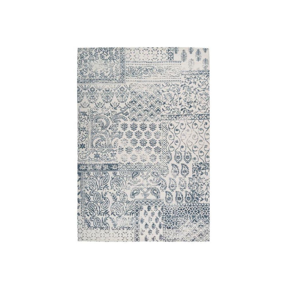 Paris Prix Tapis d'Extérieur Ethnique Yoga Bleu & Ivoire - 120 x 170 cm