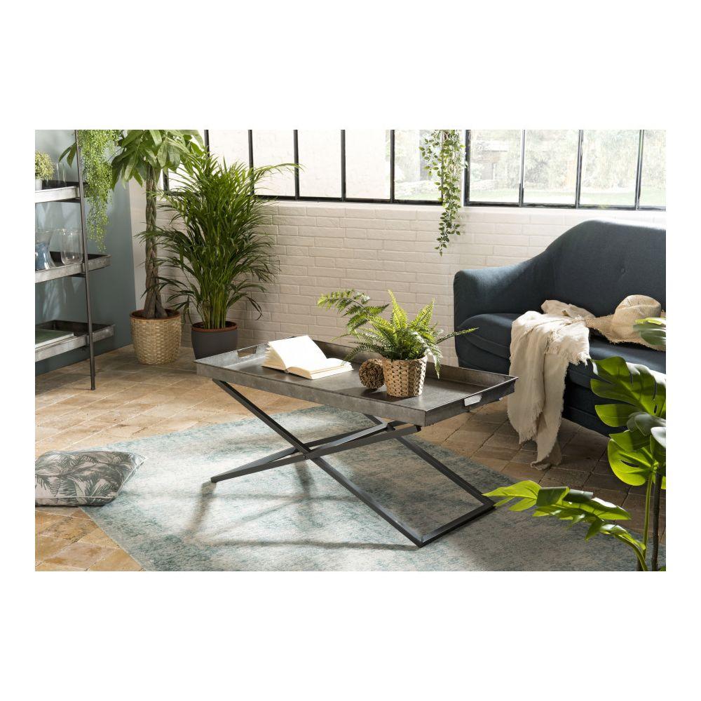 MACABANE Table basse plateau Zinc pieds croisés métal