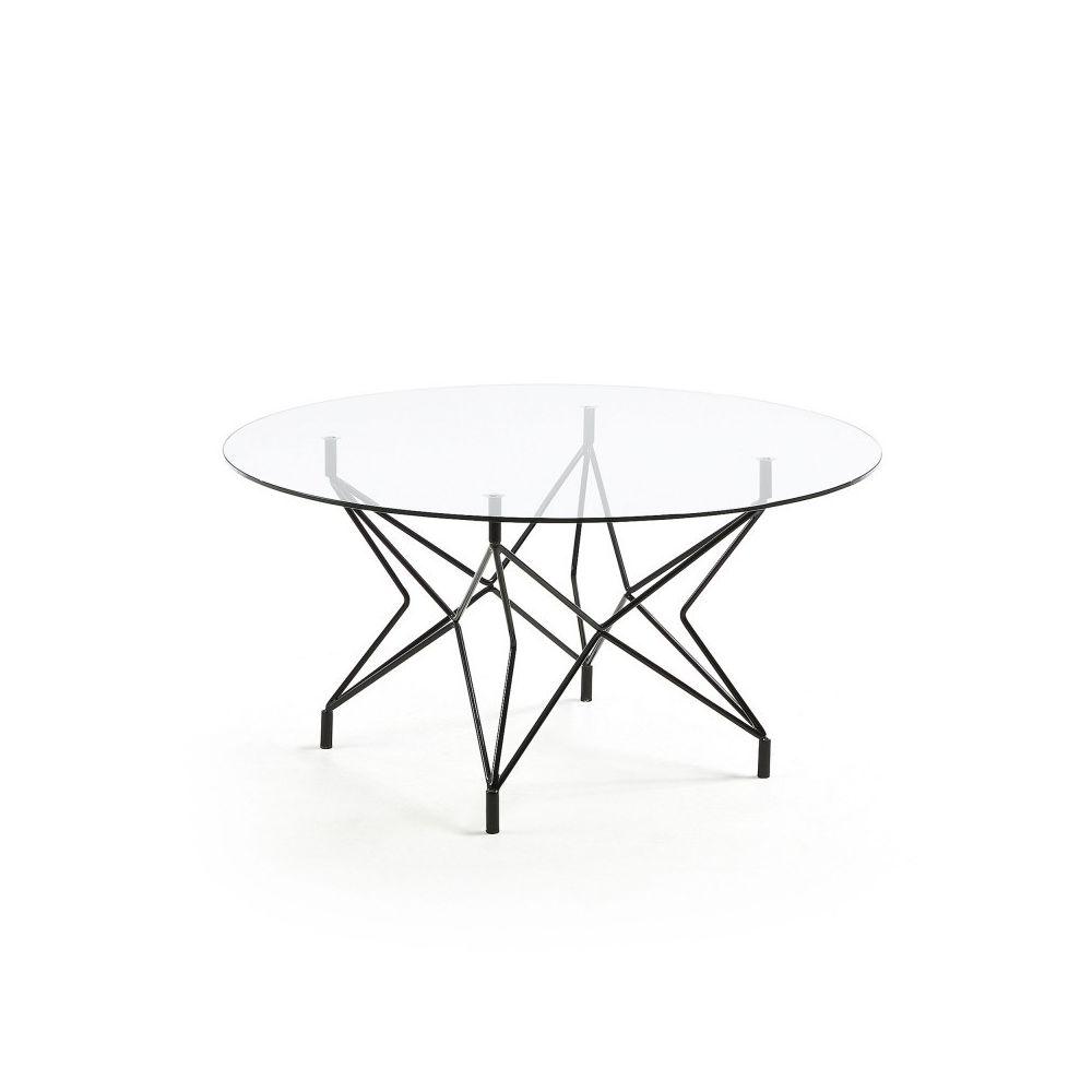 Ma Maison Mes Tendances Table basse ronde 90 cm en verre et pieds métal AUREA - L 90 x l 90 x H 48