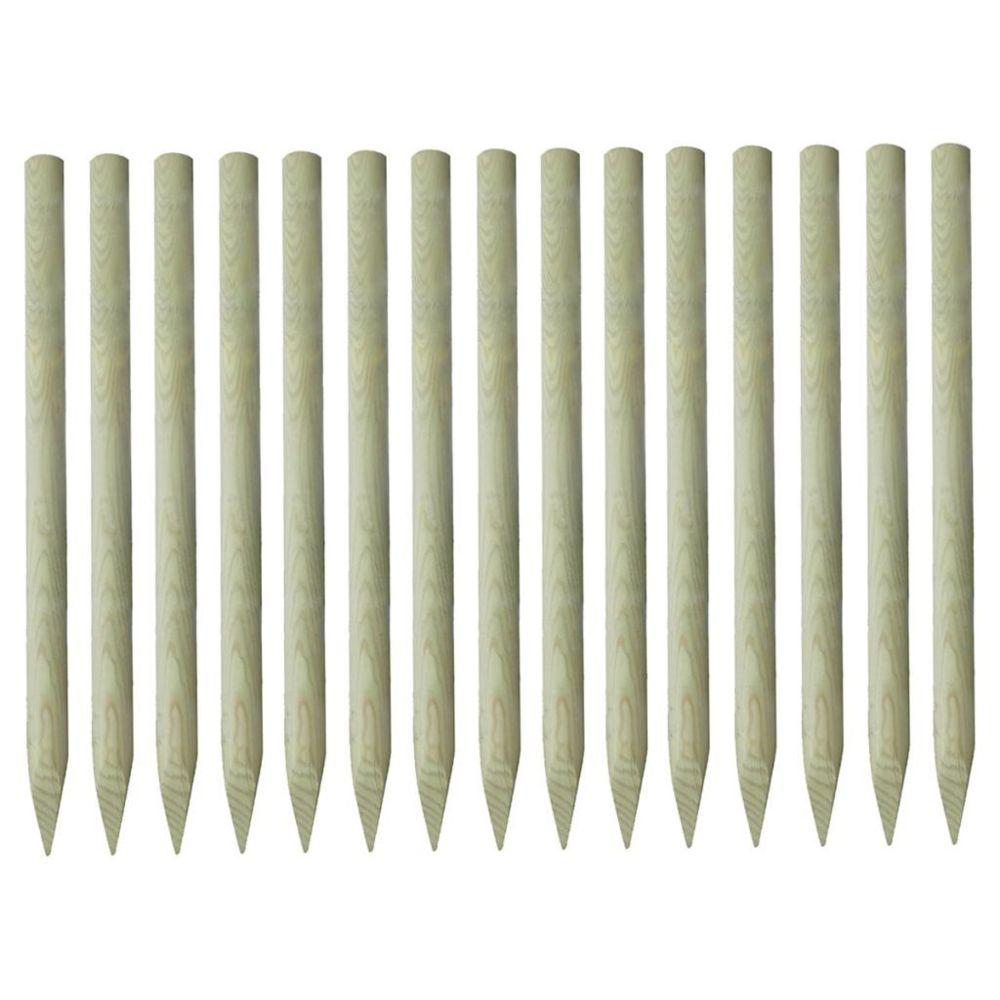 Vidaxl Poteau de clôture pointu 15 pcs Pin imprégné 4 x 150 cm | Brun