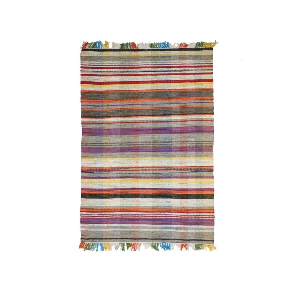 Mon Beau Tapis TRIBAL KILIM - Tapis en laine kilim motifs rayures multicolores gris 200x300