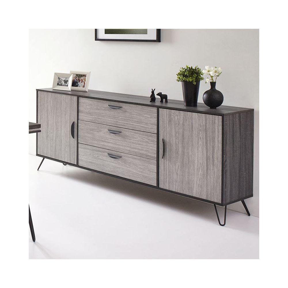 Nouvomeuble Buffet moderne couleur bois gris SANTORI