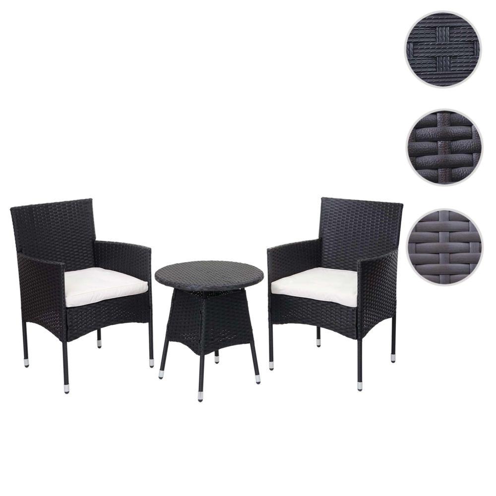 Mendler Ensemble de balcon en polyrotin HWC-G27, garniture de jardin, 2x fauteuil+table ~ anthracite, coussin crème
