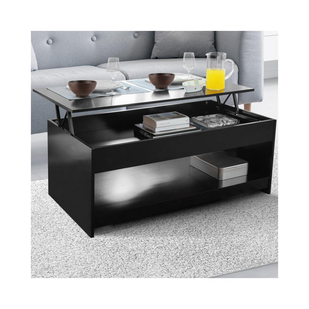 Idmarket - Table basse plateau relevable Soa bois noir - Tables