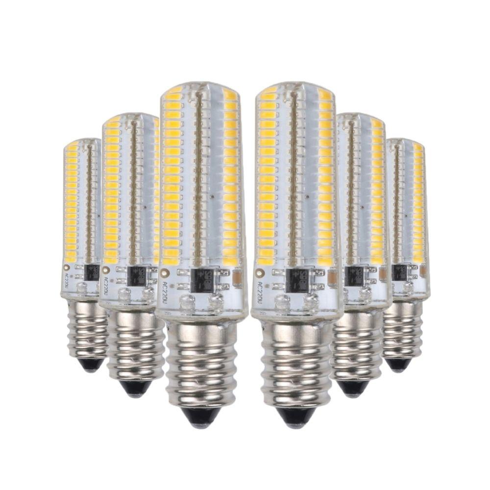Wewoo Ampoule LED SMD 3014 6PCS E12 7W CA 110-130V 152LEDs SMD 3014 lampe à économie d'énergie en silicone (blanc chaud)