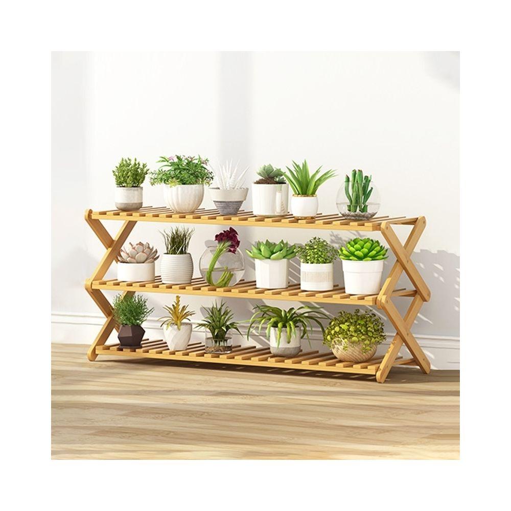 Wewoo 3-couche balcon salon pliante support de fleurs en bois massif étagères de plantation potlongueur 100cm