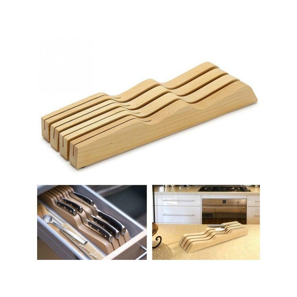 Wewoo Porte-couteau en bois massif Porte-ustensiles de cuisine horizontal Support de rangement pour outils hêtre