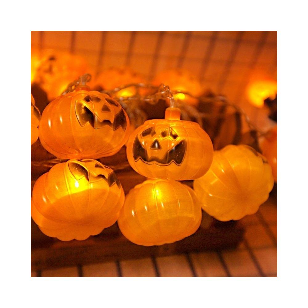 Wewoo 2,5 m citrouille Design jaune lumière Halloween série LED lumière de la chaîne, 20 LED 3 piles AA piles exploité boîte a