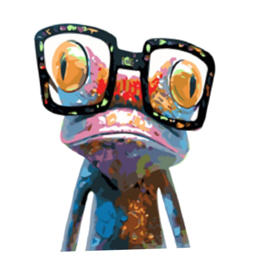 Marque Generique Peinture Acrylique Par Numero Kit Sur Toile Peinture Image Frog Avec Des Lunettes Fibre De Verre Papier A Peindre Rue Du Commerce