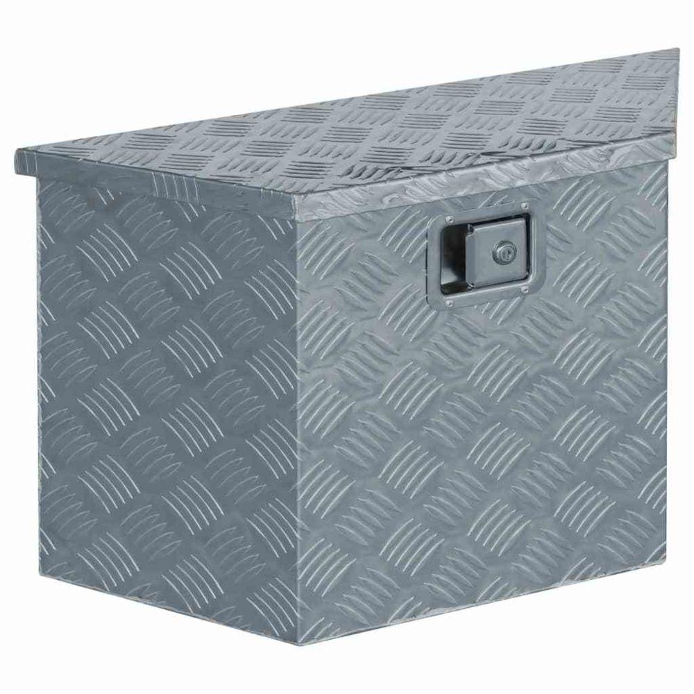 Vidaxl vidaXL Boîte en aluminium 70 x 24 x 42 cm Trapézoïdal Argenté