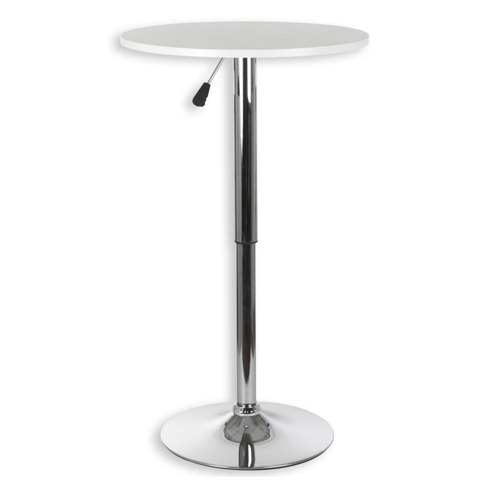 Idimex Table haute de bar VISTA table bistrot ronde mange-debout hauteur réglable avec plateau en MDF blanc et socle en métal c