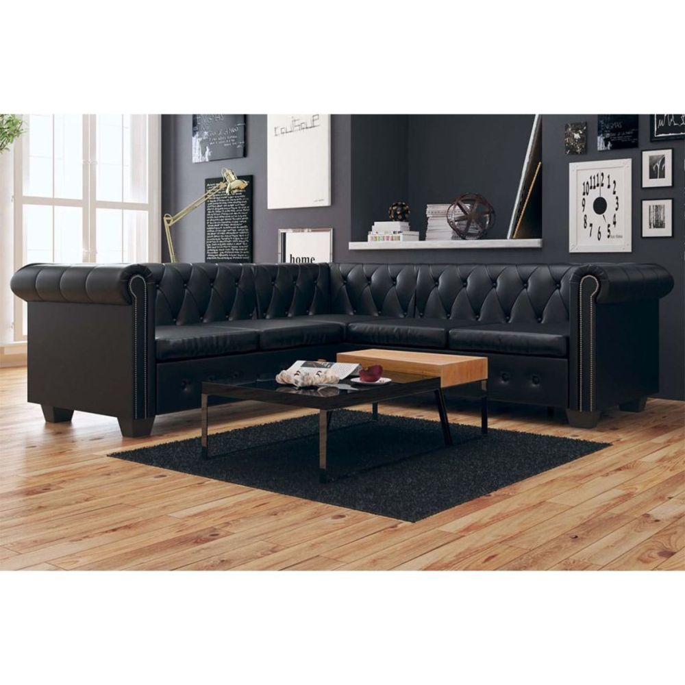 Uco UCO Canapé d'angle Chesterfield 5 places Cuir synthétique Noir