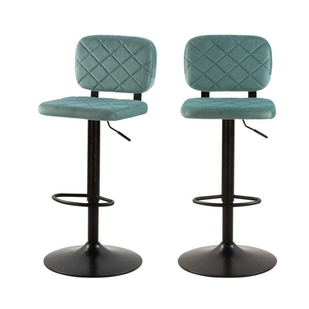 Rendez Vous Deco Chaise de bar Viktor en velours vert d'eau 60/81 cm (lot de 2)