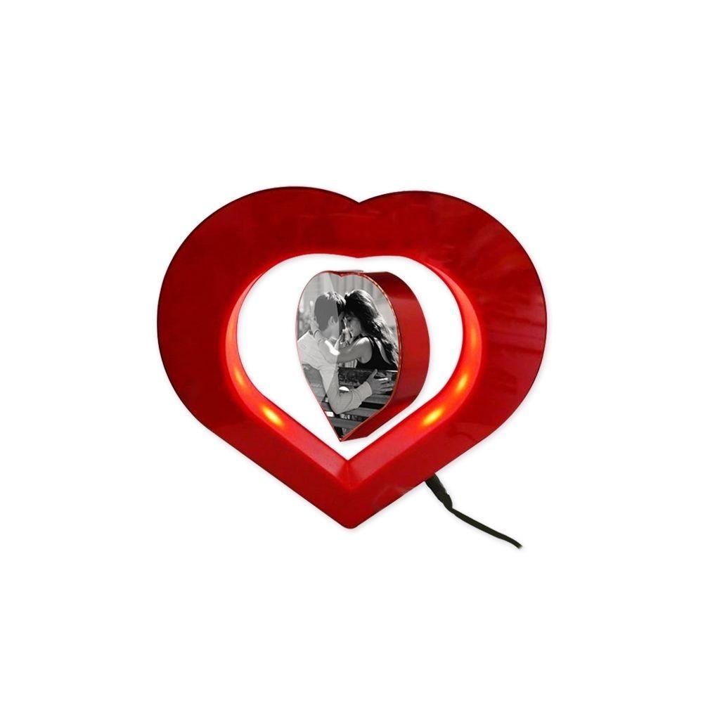 Totalcadeau Coeur lumineux et coeur porte-photos flottant lévitation magnetique
