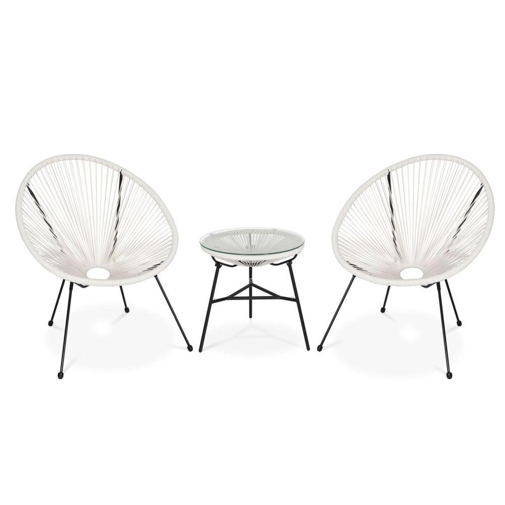 Alice'S Garden Lot de 2 fauteuils ACAPULCO forme d'oeuf avec table d'appoint - Blanc - Fauteuils design rétro
