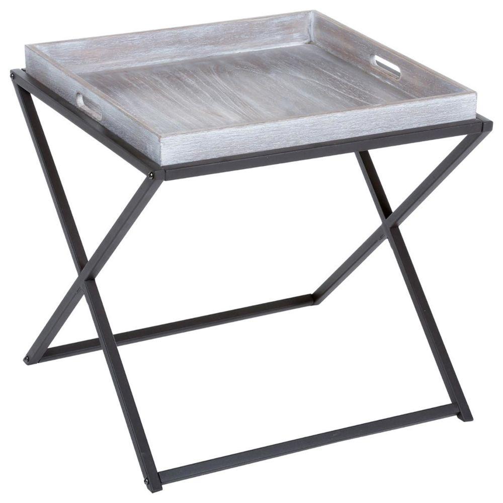 Pegane Table à café pliante en bois et métal coloris marron - Dim : L.48 x l.48 x H.47,5 cm -PEGANE