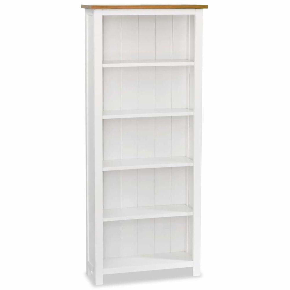 Helloshop26 Étagère armoire meuble design bibliothèque 140 cm bois de chêne massif 2702060/2