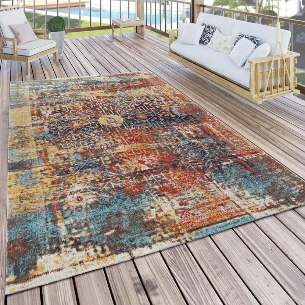 Paco-Home Tapis Intérieur Extérieur Moderne Design Nomade Terrasse Résistant Coloré