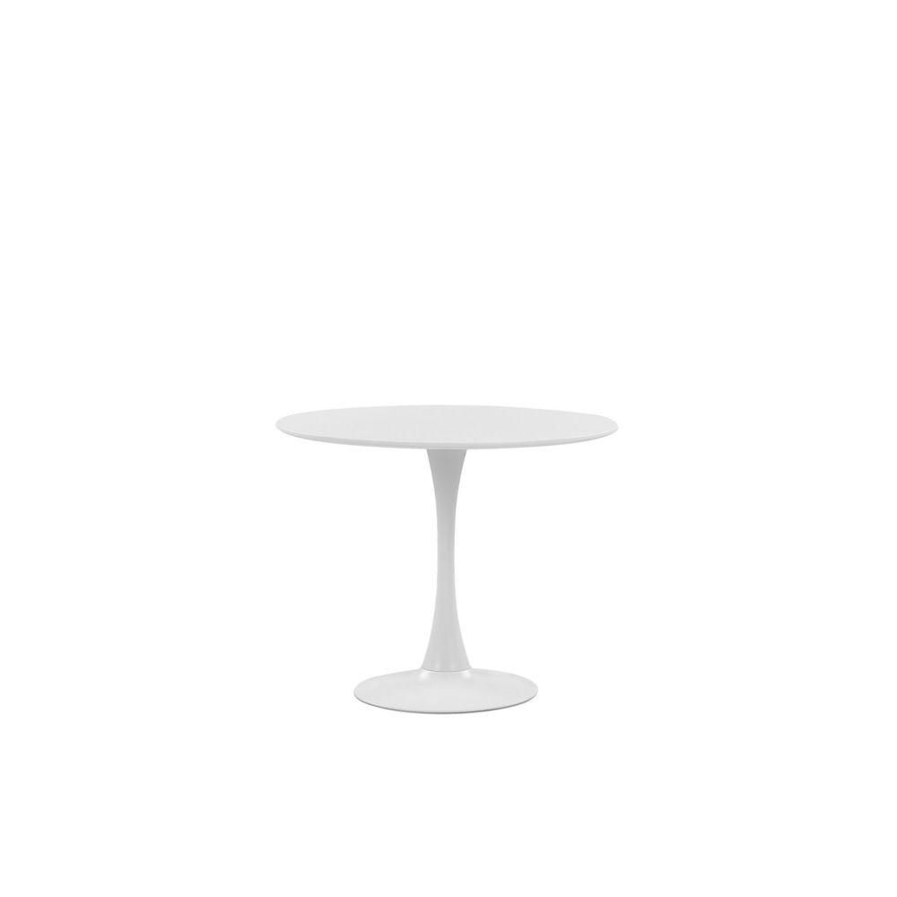 Beliani Beliani Table de salle à manger blanche et ronde 90 cm BOCA - noir