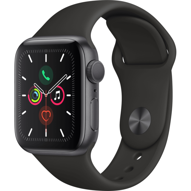 Apple - Watch 5 - 40 - Alu gris / Bracelet Sport Noir - Objets connectés reconditionnés