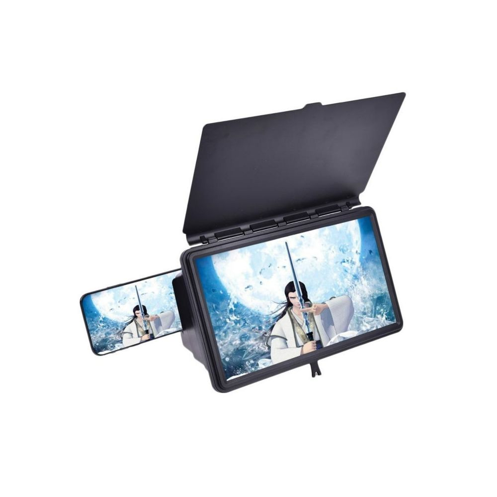 Agrandisseur dEcran Smartphone Universel 12  HD Loupe /Écran Support de Bureau pour Smartphones IPhone Samsung Huawei