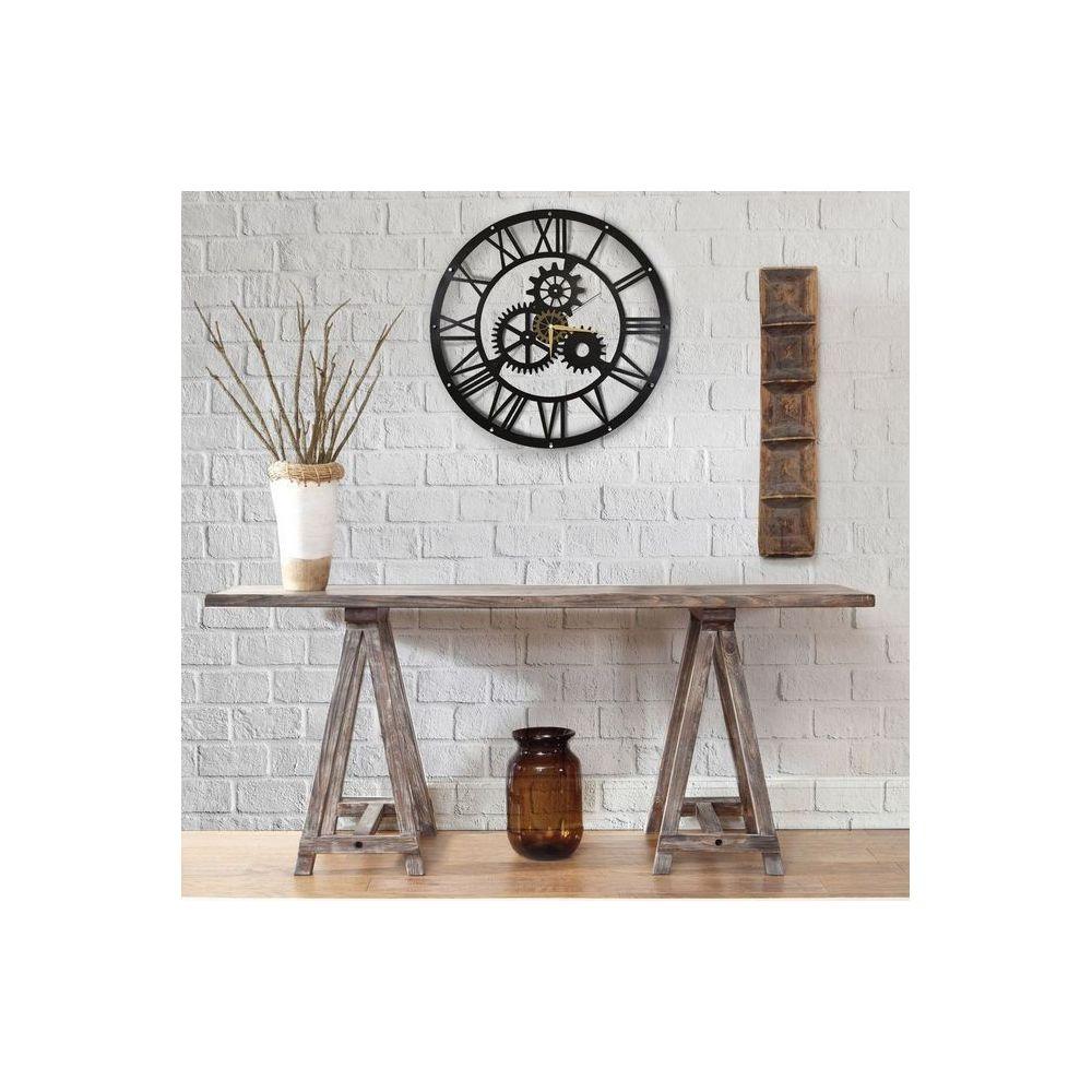 Homemania HOMEMANIA Horloge Murale - Engrenage - pour Séjour, Cuisine - Multicolore en Métal, 50 x 0,16 x 50 cm