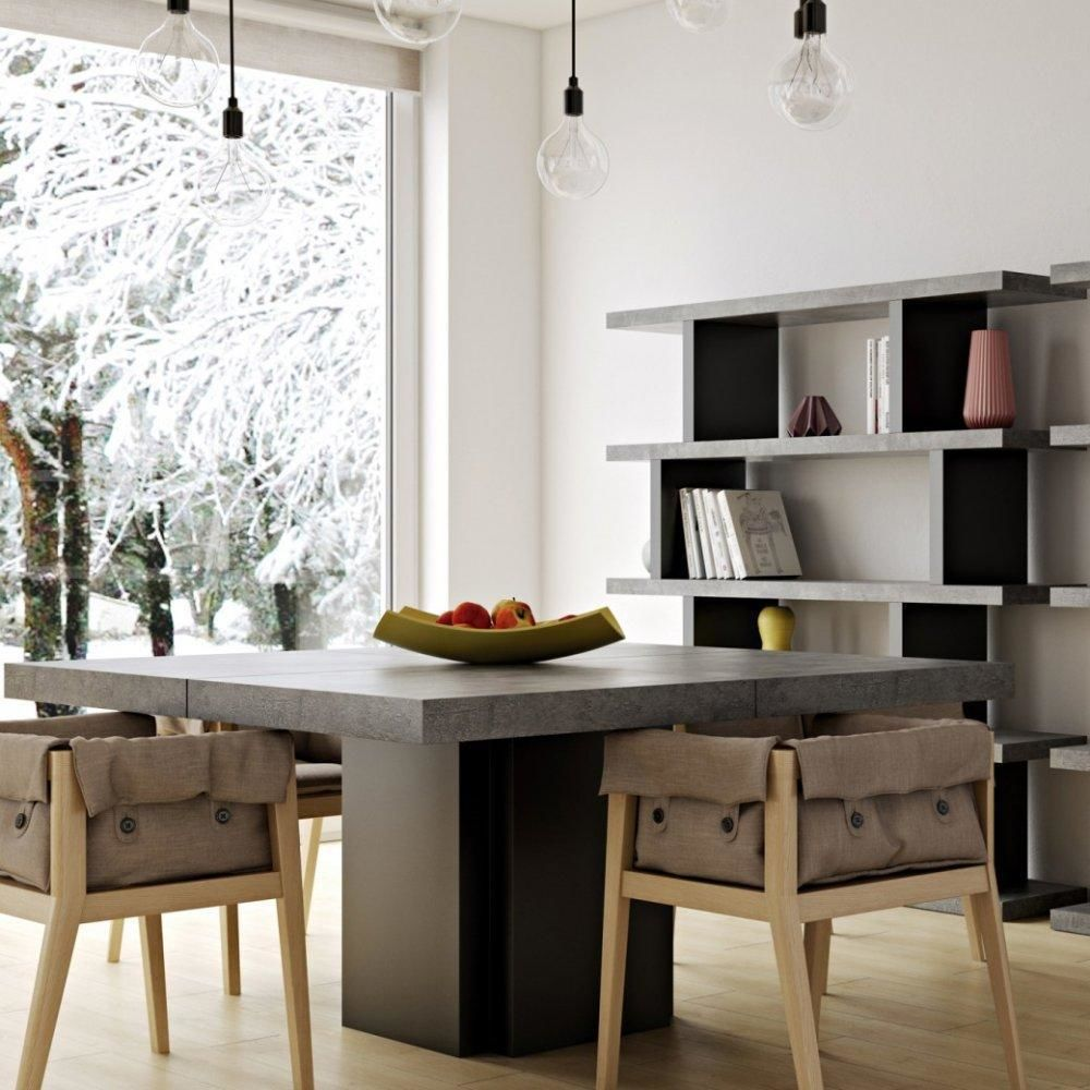Inside 75 table repas DUSK 130 x 130 cm effet béton